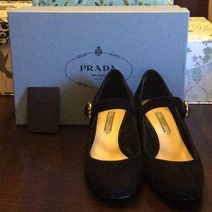 Prada Sz 38 black suede heels